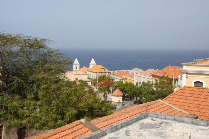 The view over São Filipe to the ocean, Fogo, Cape Verde, Africa