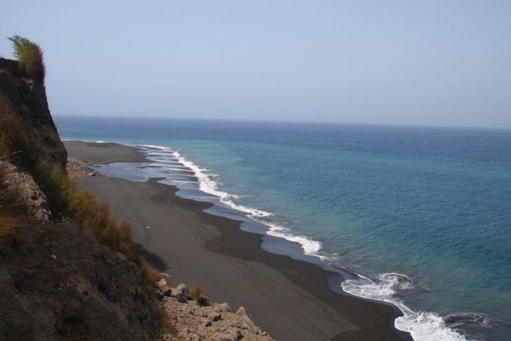 Cliffs and the black sand beach below São Filipe, Fogo, Cape Verde, Africa