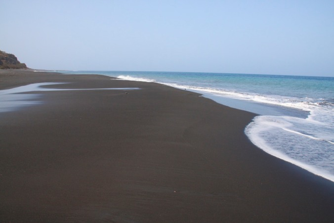 The black sand beach below São Filipe, Fogo, Cape Verde, Africa
