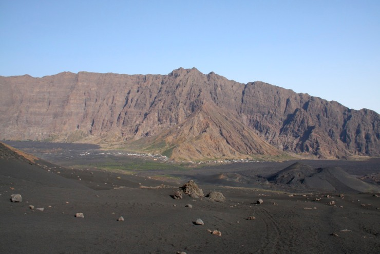 Crater wall and village, Pico do Fogo, Fogo, Cape Verde, Africa