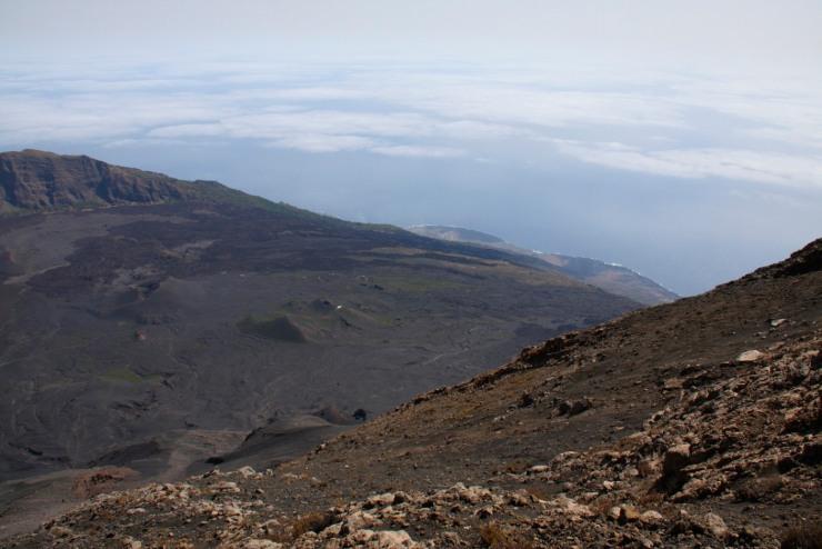 Lava flows drop to the Atlantic Ocean, Pico do Fogo, Fogo, Cape Verde, Africa