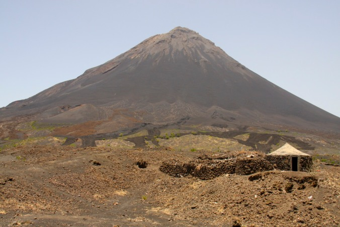 Pico do Fogo with lava flows, Fogo, Cape Verde, Africa