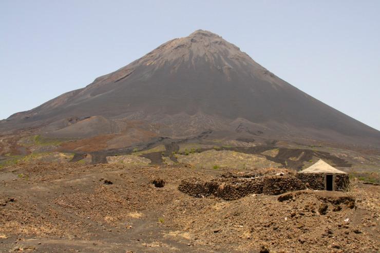 Pico do Fogo with lava flows, Fogo, Cape Verde, Africa