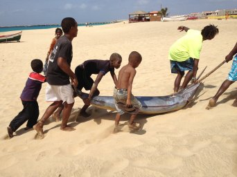Fishermen and fish on the beach at Vila do Maio, Maio, Cape Verde (photo from Maio Facebook page)
