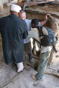 Looking nervous, with good reason, before leaving Debre Damos Monastery, Ethiopia, Africa