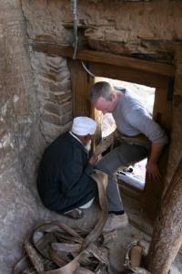 Leaving Debre Damos Monastery via the vertical rock face, Ethiopia, Africa