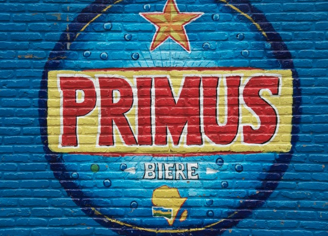 Painted advert for Primus beer in Gisenyi, Rwanda, Africa