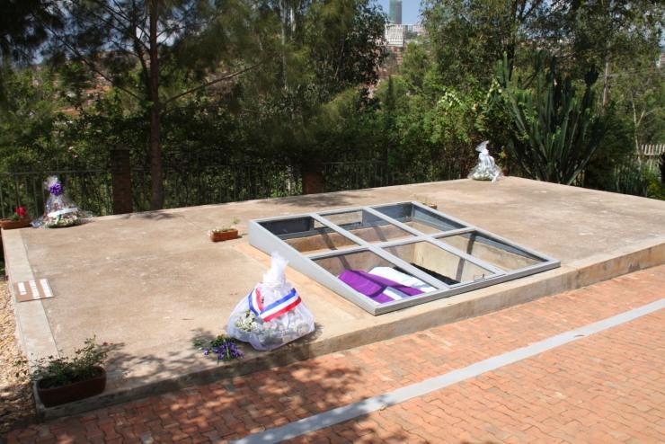 Coffins draped in purple, Genocide Memorial Centre, Kigali, Rwanda, Africa