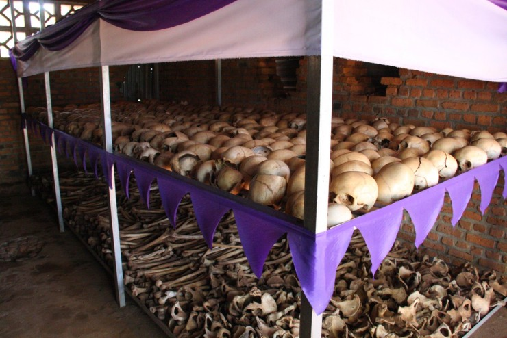 Human remains of those murdered in Ntarama church, Rwanda, Africa