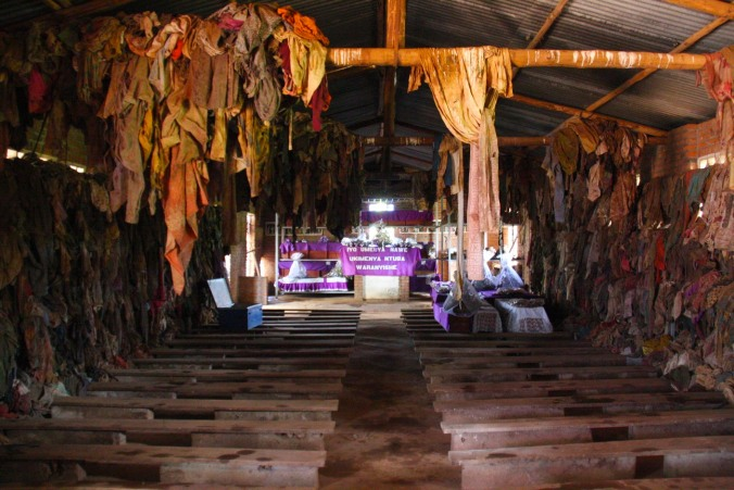 Interior of Ntarama church, Rwanda, Africa