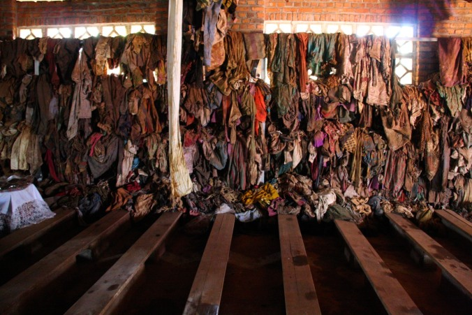 Interior of Ntarama church with clothes of genocide victims, Rwanda, Africa