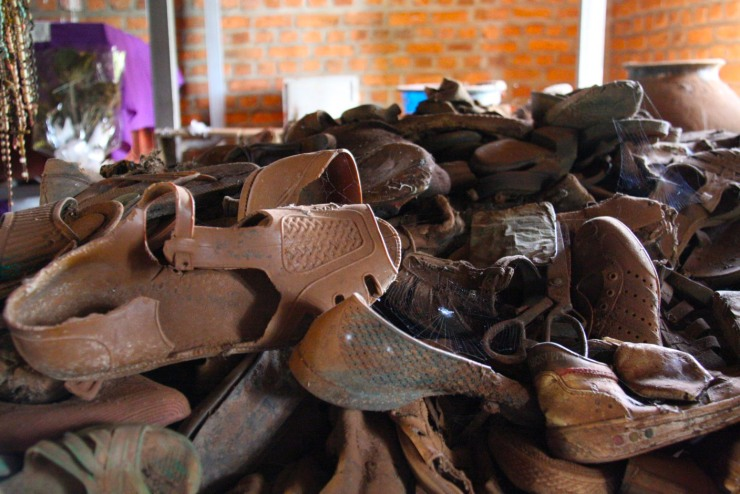 Shoes of the dead inside the church at the Ntarama Genocide Memorial site, Rwanda, Africa