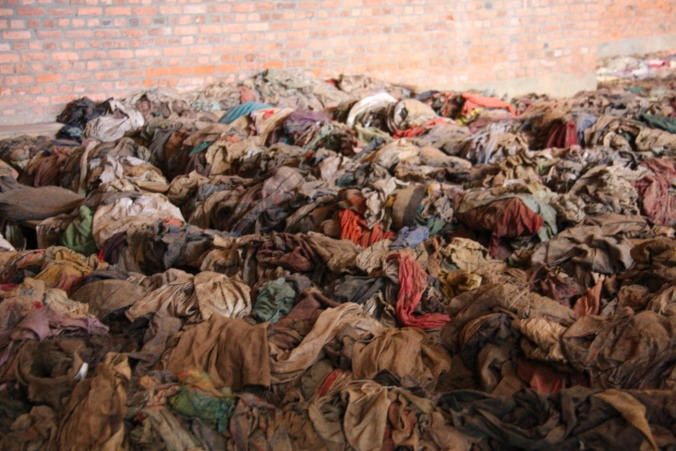 Interior of Nyamata church with clothes of the victims of genocide, Rwanda, Africa