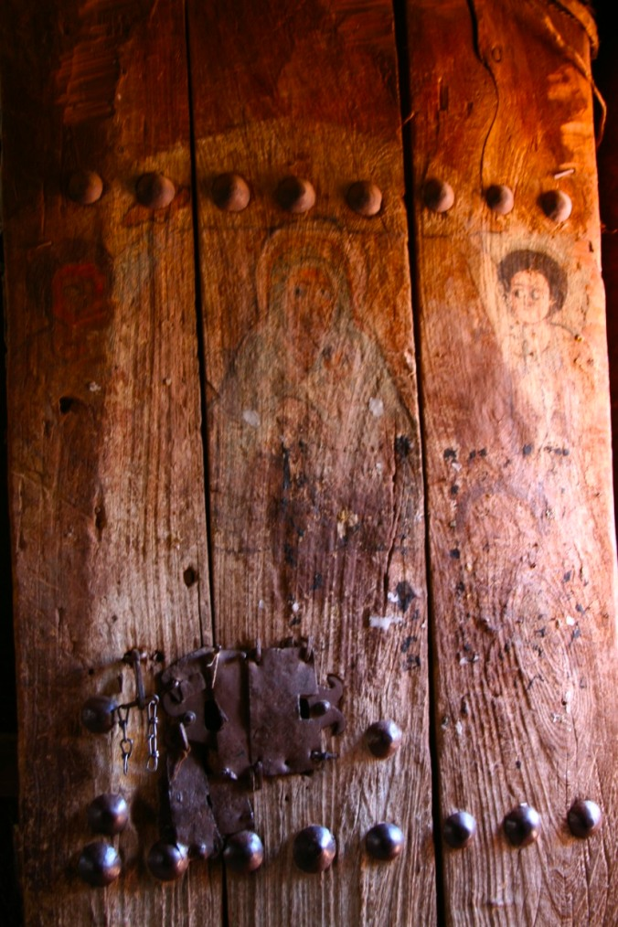 Religious paintings on a door, Lalibela, Ethiopia, Africa