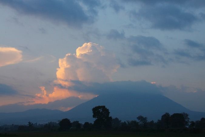 Sunset over the Volcanoes National Park, Rwanda, Africa