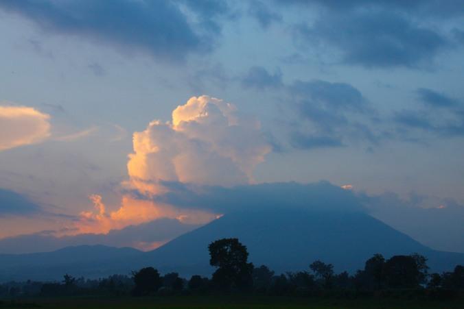 Sunset over the Volcanoes National Park, Ruhengeri, Rwanda, Africa