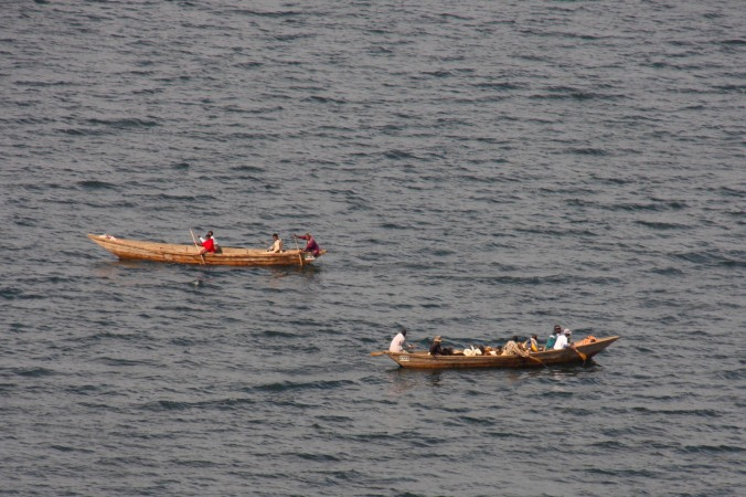 Boats on Lake Burera, Ruhengeri, Rwanda, Africa