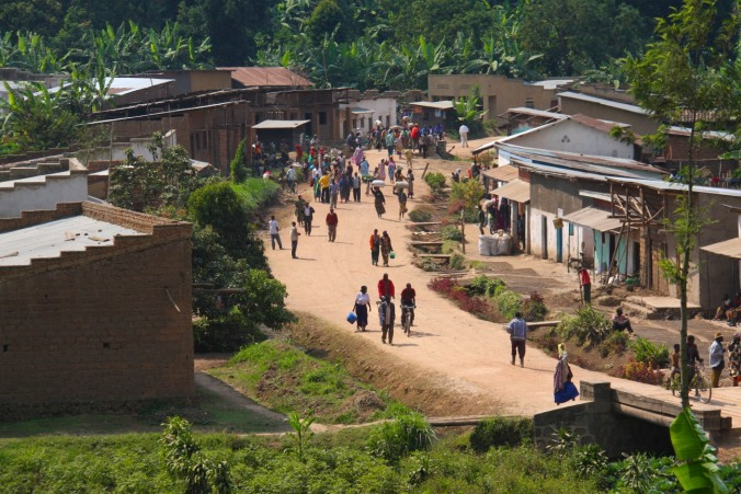 Village on Lake Burera, Ruhengeri, Rwanda, Africa