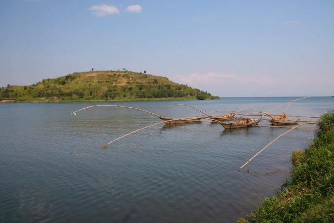 Traditional fishing boats, Lake Kivu near Gisenyi, Rwanda, Africa