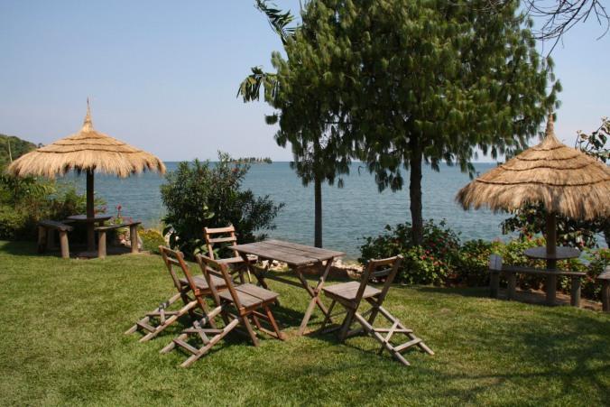 Lunch spot on Lake Kivu near Gisenyi, Rwanda, Africa