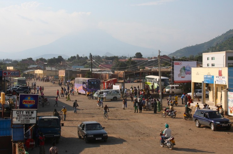 The main bus station in Gisenyi, Rwanda, Africa