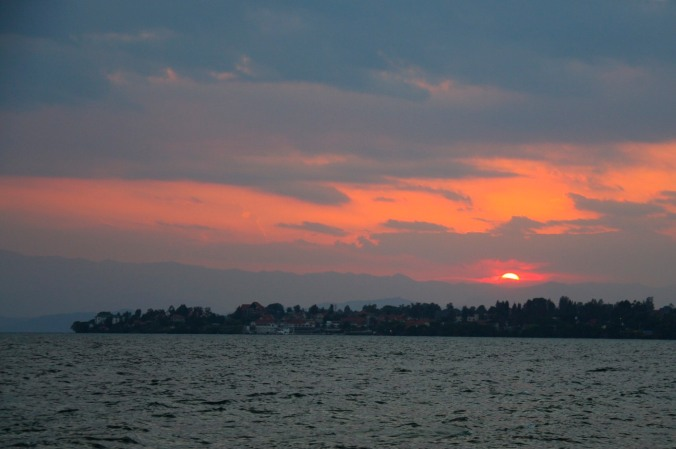 Sunset over Lake Kivu, Gisenyi, Rwanda, Africa