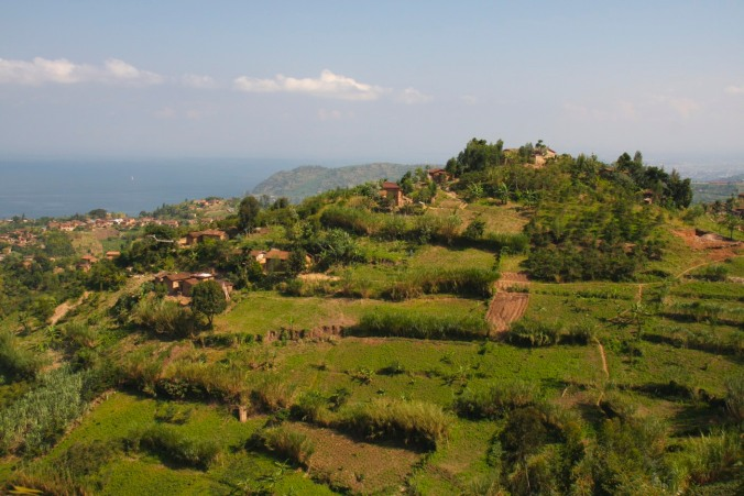 Views over Lake Kivu, from the road from Gisenyi to Kibuye, Rwanda, Africa