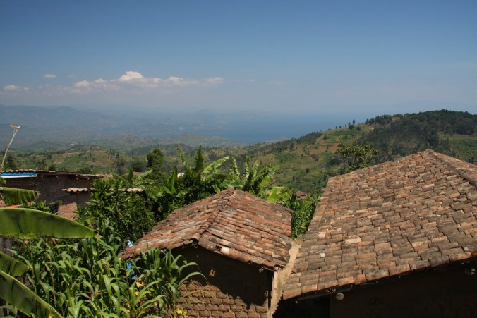 Looking down on Kibuye from the road from Gisenyi to Kibuye, Rwanda, Africa