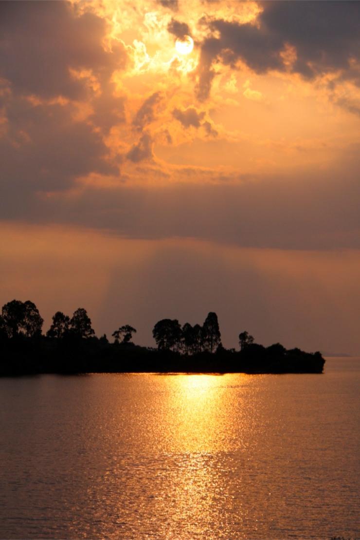 Sunset over Lake Kivu, Kibuye, Rwanda, Africa