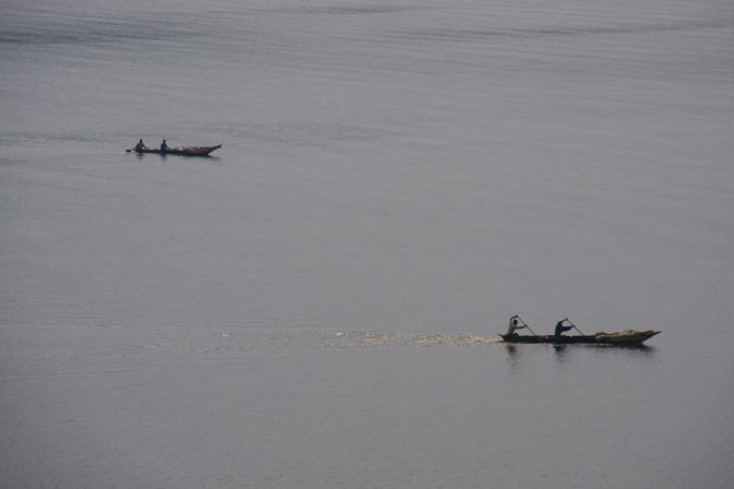 Canoes on Lake Kivu, Kibuye, Rwanda, Africa