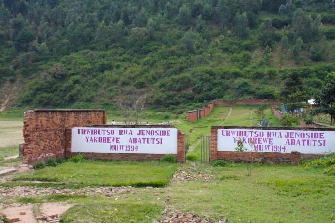 Genocide mass grave, sports stadium, Kibuye, Rwanda, Africa