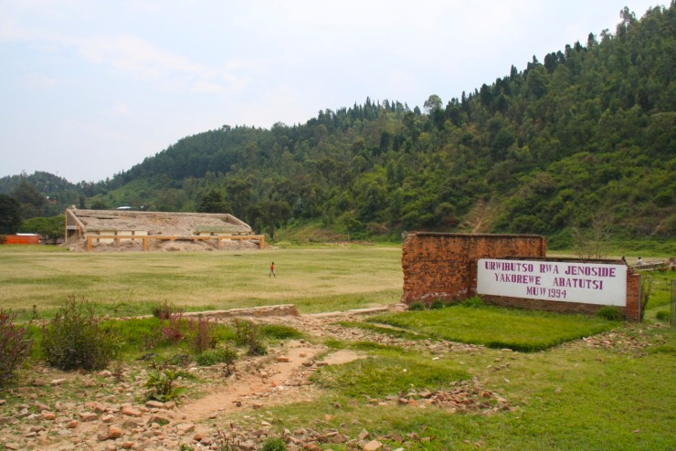 Genocide memorial, sports stadium, Kibuye, Rwanda, Africa