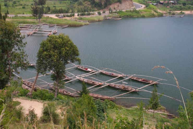 Traditional fishing boats, Lake Kivu, Kibuye, Rwanda, Africa