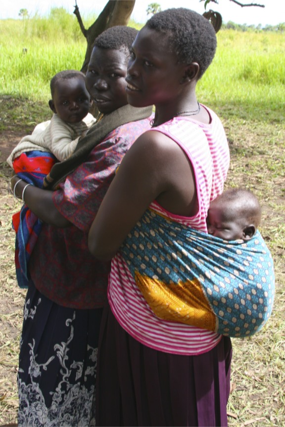 Young women and babies, Internal Displacement Camp, Gulu, Uganda, Africa