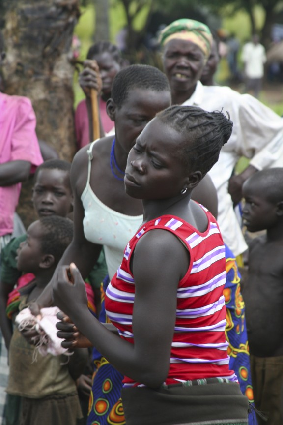 Woman dancing, Internal Displacement Camp, Gulu, Uganda, Africa