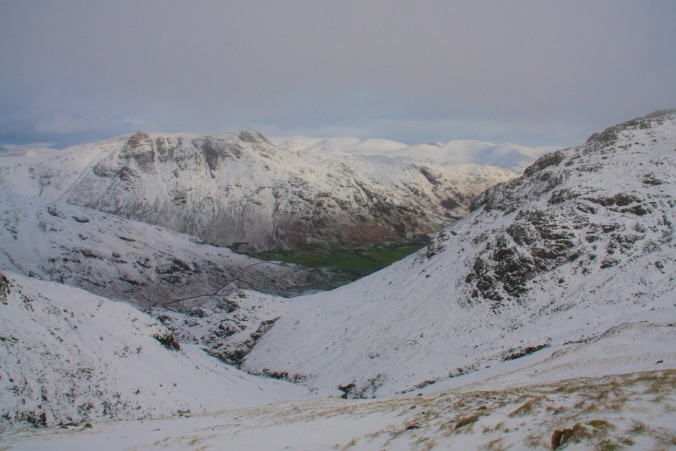 Winter in the Lake District, the Langdale Pikes from Crinkle Crags, Cumbria, England
