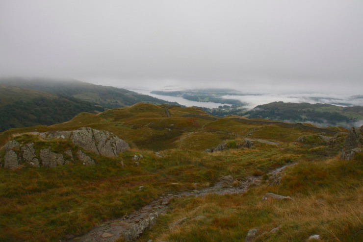 Ambleside viewed at the start of the Fairfield Horseshoe, Lake District, Cumbria, England
