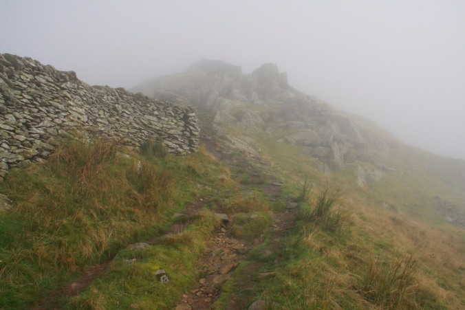 Into the mist, Fairfield Horseshoe, Lake District, Cumbria, England