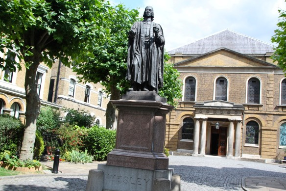 """The world is my parish"", statue of John Wesley outside Wesley's Chapel, London, England"