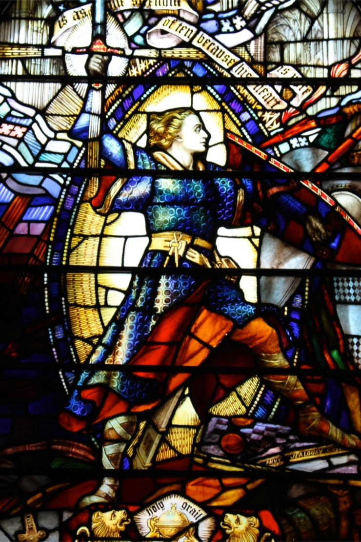 Victorian stained glass window, Wesley's Chapel, London, England