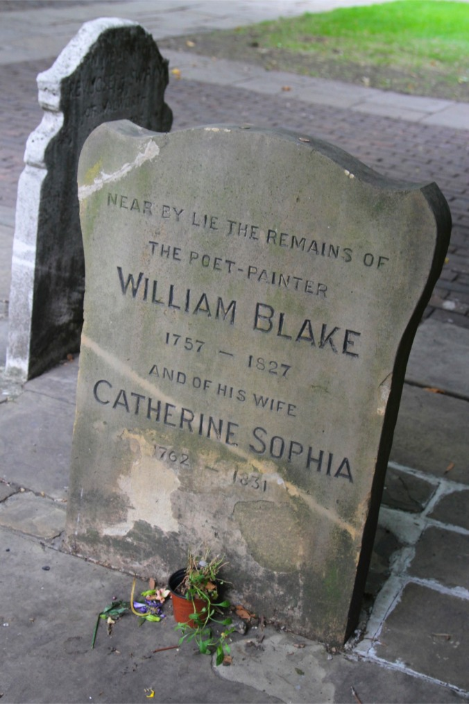 William Blake's grave in Bunhill Fields, London, England