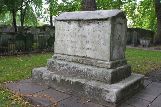 Dame Mary Page's grave in Bunhill Fields, London, England