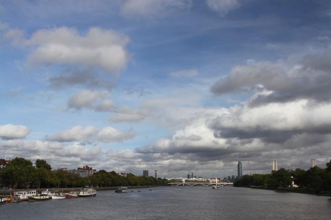 River Thames from the Albert Bridge, Battersea, London, England