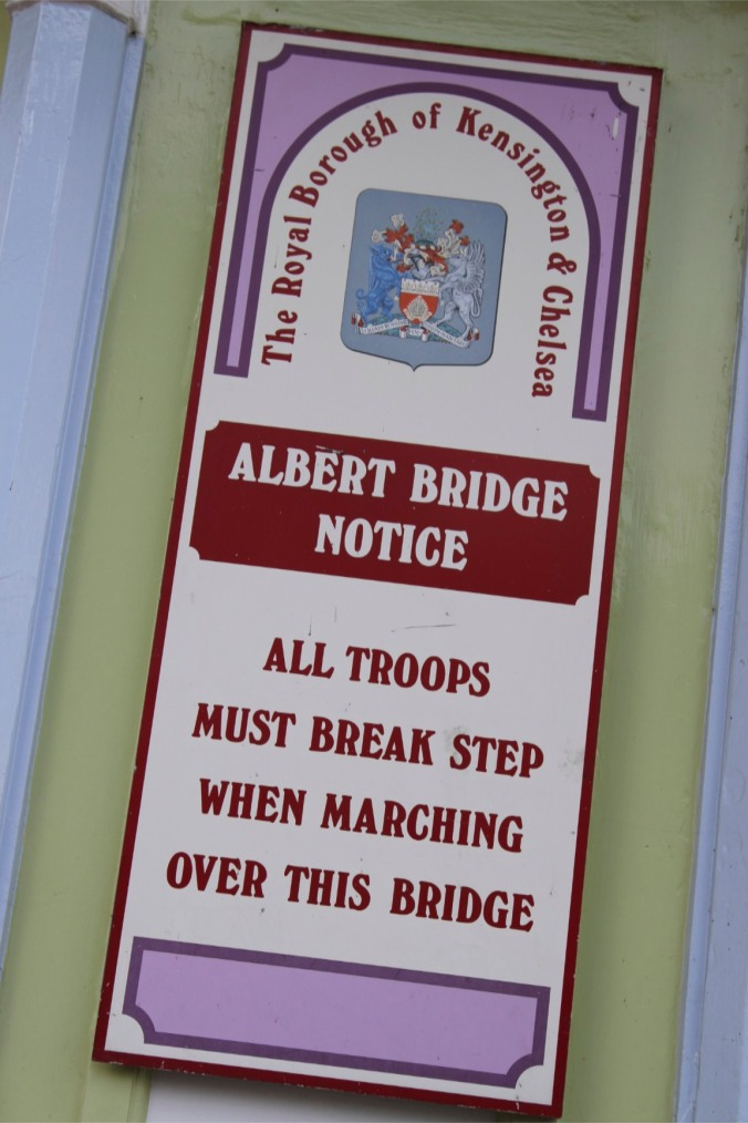 Albert Bridge sign, Battersea Park, London, England