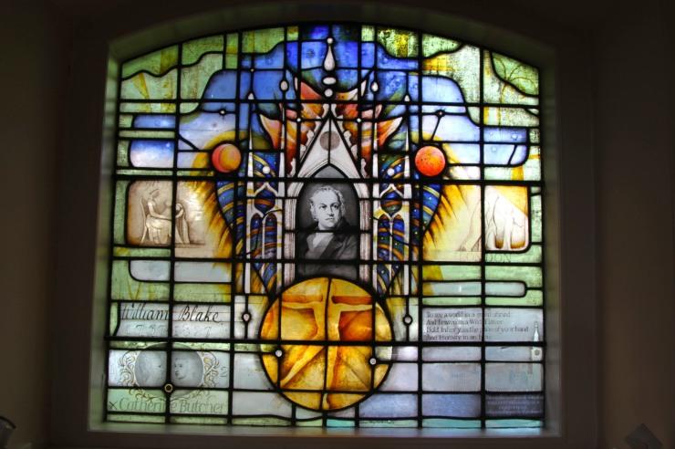 William Blake window, St. Mary's Church, Battersea, London, England