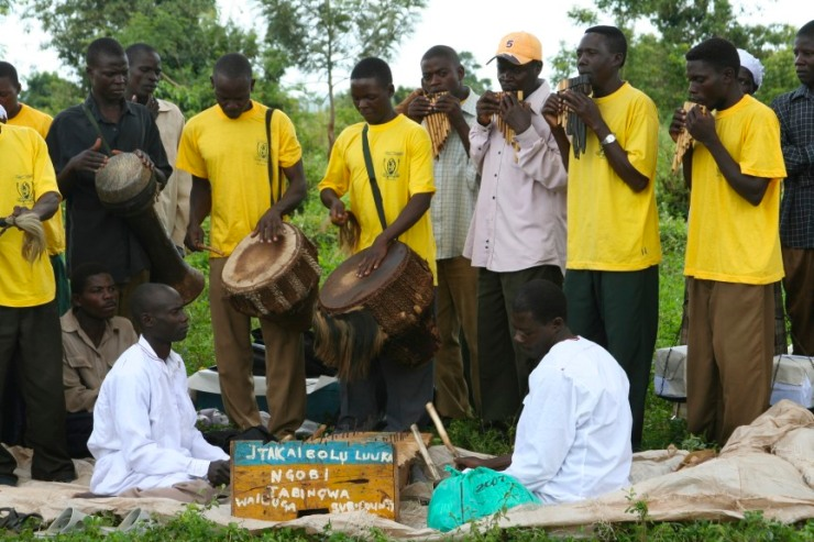 Musicians in an educational play, Iganga, Uganda, Africa