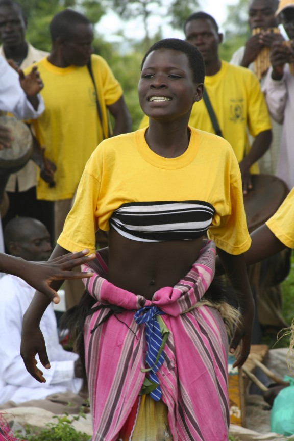 Dancer in an educational play, Iganga, Uganda, Africa