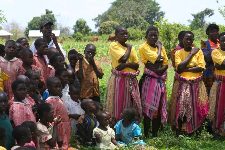 Performers and crowd at an educational play, Iganga, Uganda, Africa