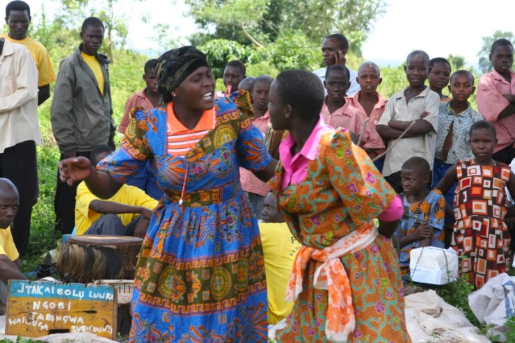 Performers in an educational play, Iganga, Uganda, Africa