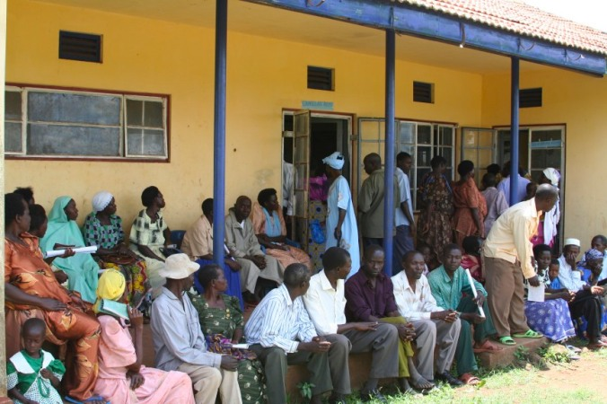People wait for the mobile health team, Iganga, Uganda, Africa